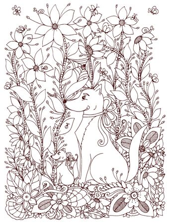 zen garden: Vector illustration Zen Tangle dog and puppy sitting in the flowers. Doodle garden, spring. Coloring book anti stress for adults. Brown and white.