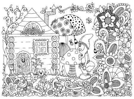 flowers cat: Vector illustration Zen Tangle gnome and a house. Doodle flowers, cat, garden. Coloring book anti stress for adults. Black and white.