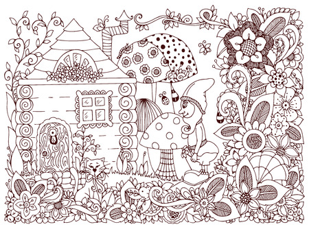 zen garden: Vector illustration Zen Tangle gnome and a house. Doodle flowers, cat, garden. Coloring book anti stress for adults. Brown and white.