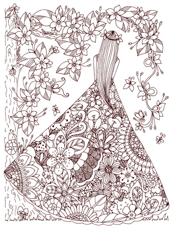 Vector illustration Zen Tangle girl in a floral dress. Doodle flowers, tree. Coloring book antis stress for adults. Brown and white.