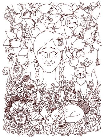 pigtails: Vector illustration Zen Tangle girl with pigtails and apples. Doodle flowers frame. Coloring book anti stress for adults. Brown and white. Illustration
