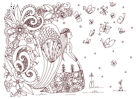 rear wing: Vector illustration Zen Tangle angel girl with flowers. Doodle drawing. Coloring book anti stress for adults. Brown and white.