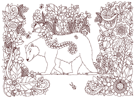 bear berry: Vector illustration Zen Tangle bear with flowers. Doodle drawing floral frame. Coloring book anti stress for adults. Brown and white. Illustration