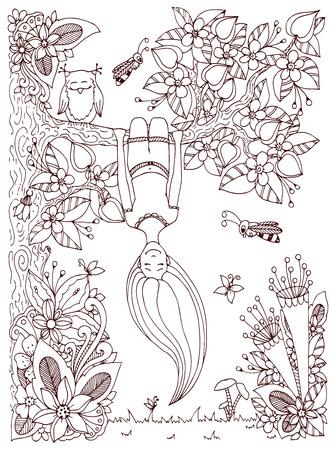 ベクトル図禅もつれ、女の子逆さツリーでハングします。花のフレームを落書き。アンチ ストレス大人のための塗り絵。茶色と白です。