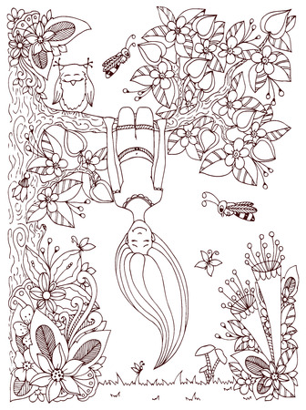 Vector illustration Zen Tangle, girl hangs on a tree upside down. Doodle floral frame. Coloring book anti stress for adults. Brown and white.