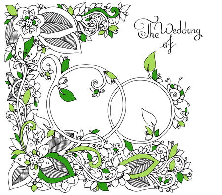 tangle: Vector illustration Zen Tangle Wedding rings in flowers. Doodle drawing, floral. Coloring book anti stress for adults. Black and white.