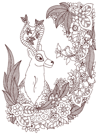 tangle: Vector illustration Zen Tangle deer in a flower frame. Doodle drawing. Coloring book anti stress for adults. Brown and white.