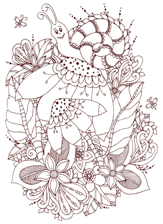 Vector Illustration Zen Tangle Snail On Flowers Doodle Drawing Coloring Book Anti Stress For