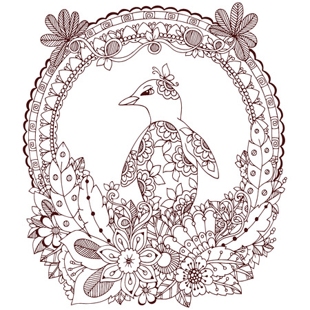 zen vector: Vector illustration Zen Tangle, a penguin in a flower frame. Doodle drawing. Coloring book anti stress for adults. Brown white.