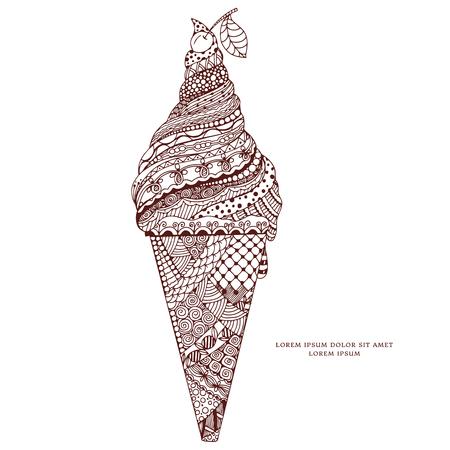 Ilustración Vectorial Zen Enredo, El Helado Con El Ornamento. Doodle ...
