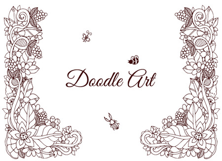 tangle: Vector illustration of floral frame Zen Tangle. Dudlart. Coloring book anti stress for adults. Coloring page. Brown and white.