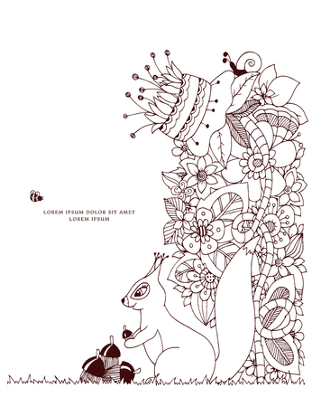 acorn squirrel: Vector illustration Zen Tangle, squirrel with acorn sitting in flowers. Doodle drawing. Coloring book anti stress for adults. Brown and white.
