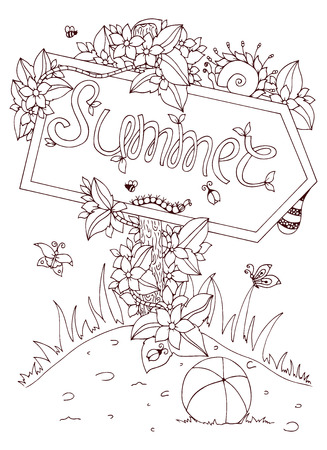 anti stress: Vector illustration Zen Tangle pointer with the inscription. Doodle flowers. Coloring book anti stress for adults. Brown and white. Illustration