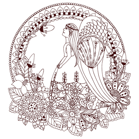 anti stress: Vector illustration Zen Tangle angel girl with flowers. Doodle drawing. Coloring book anti stress for adults. Brown and white.