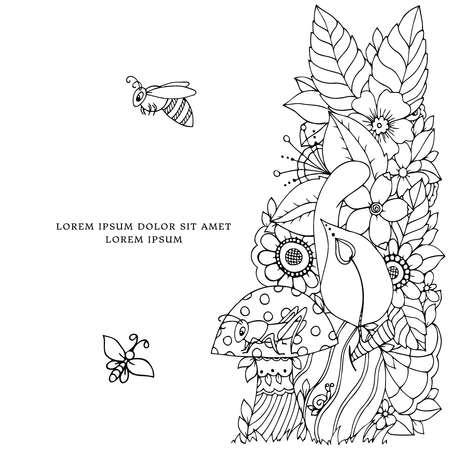 tangle: Vector illustration of floral frame Zen Tangle. Dudlart. Coloring book anti stress for adults. Coloring page. Black and white.