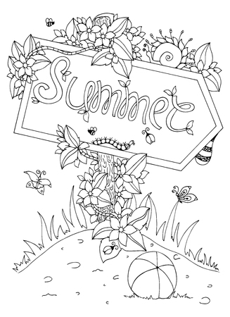 anti stress: Vector illustration Zen Tangle pointer with the inscription. Doodle flowers. Coloring book anti stress for adults. Black and white. Illustration