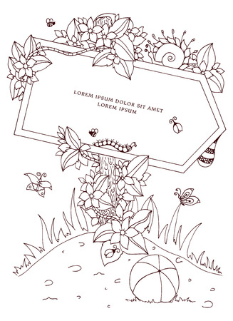 tangle: Vector illustration Zen Tangle pointer with the inscription. Doodle flowers. Coloring book anti stress for adults. Brown and white. Illustration
