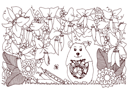tangle: Vector illustration Zen Tangle , hamster and peas. Doodle flowers pattern. Coloring book anti stress for adults. Brown and white. Illustration