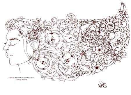 Vector illustration Zen Tangle, fille, femme avec des fleurs dans ses cheveux, les pommes. dessin Doodle. Coloriage livre anti-stress pour les adultes. Brown et blanc.