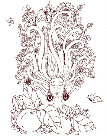 freckles: Vector illustration Zen Tangle girl with freckles sleeps. Doodle flowers in her hair, butterfly. Coloring book anti stress for adults. Brown and white.
