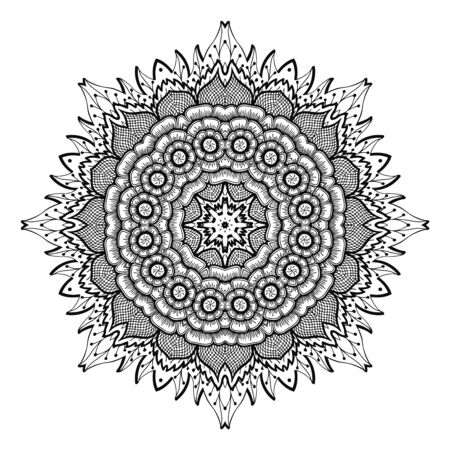 sacramental: Vector illustration Zen Tangle, flower mandala. Doodle drawing. Coloring book anti stress for adults. Black white. Illustration