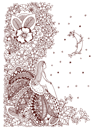 little girl sitting: Vector illustration Zen Tangle, little girl sitting on a flower and looking at the stars. Doodle drawing. Coloring anti stress for adults. Brown and white.