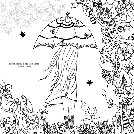 tangle: Vector illustration Zen Tangle, a girl with an umbrella in the park. Doodle drawing. Coloring book anti stress for adults. Black and white.