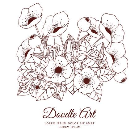 Vector illustration fleurs zentangl coquelicots. dessin Doodle. Coloriage livre anti-stress pour les adultes. Brown et blanc.
