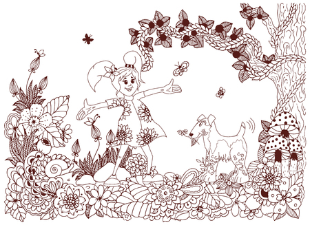 fox terrier: Vector illustration Zen tnagl, girl and dog in flowers. Doodle drawing. Coloring book anti stress for adults. Brown and white. Illustration