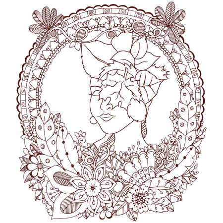 Vector illustration Zen Tangle angel girl with flowers. Doodle drawing. Coloring book anti stress for adults. Brown and white.