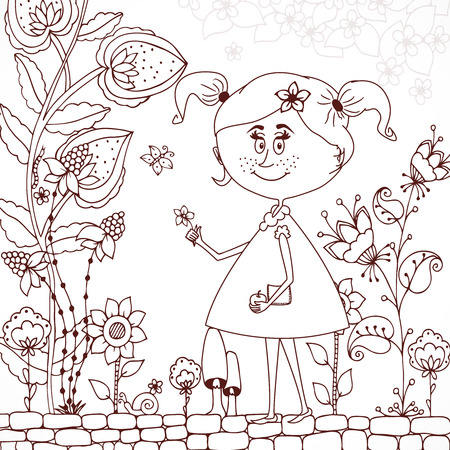 tangle: Vector illustration Zen Tangle girl in a floral . Doodle flowers, tree. Coloring book antis stress for adults. Brown and white.