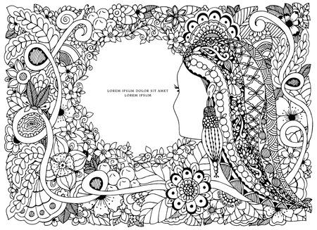 Vector illustration Zen Tangle portrait d'une femme dans un cadre de fleurs. Griffonnage. Coloriage livre anti-stress pour les adultes. Noir blanc.