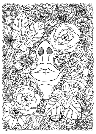 drowned: Vector illustration  girl drowned in flowers. Doodle drawing. Meditative exercise. Coloring book anti stress for adults. Black and white. Illustration