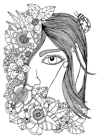 Vector illustration  girl in the floral frame. Doodle drawing. Meditative exercise. Coloring book anti stress for adults. Black and white.