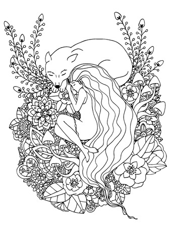 Vector illustration e girl and the wolf sleeping in the flowers. Doodle drawing. Meditative exercises. Coloring book anti stress for adults. Black and white.  イラスト・ベクター素材