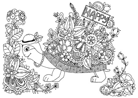 Vector illustration , turtle with a pointer to Happy floral frame. Doodle drawing. Coloring book anti stress for adults. Meditative exercises. Black and white. Ilustração