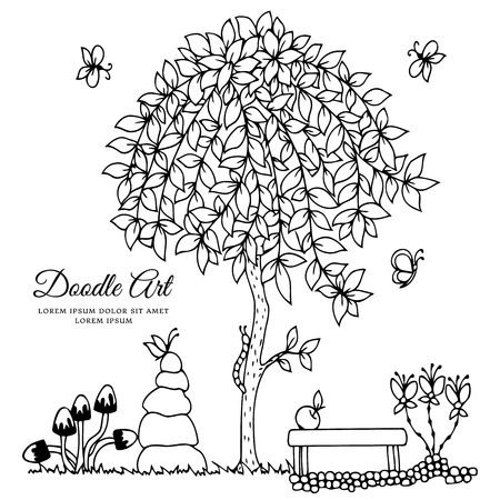 Vector illustration , bench and a tree. Doodle drawing. Coloring book anti stress for adults. Black and white.