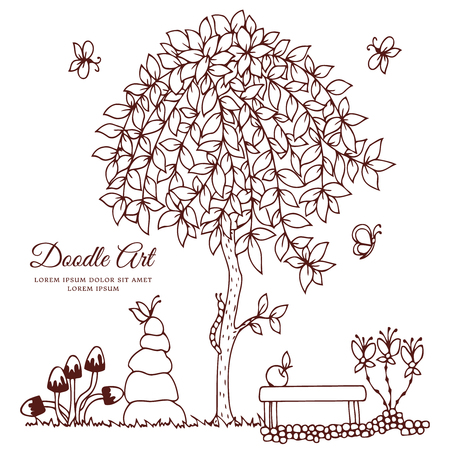 Vector illustration , bench and a tree. Doodle drawing. Coloring book anti stress for adults. Brown and white.  イラスト・ベクター素材