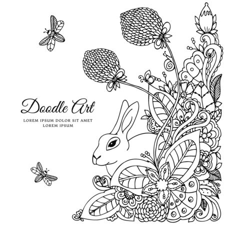 Vector illustration  rabbit in flower frame. Doodle drawing. Coloring book anti stress for adults. Meditative exercises. Black and white.  イラスト・ベクター素材