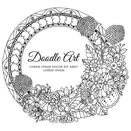 Vector illustration  round floral frame. Doodle drawing. Coloring book anti stress for adults. Black and white.  イラスト・ベクター素材