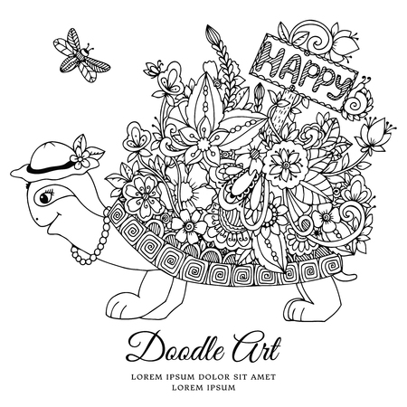 Vector illustration , turtle with a pointer to Happy floral frame. Doodle drawing. Coloring book anti stress for adults. Meditative exercises. Black and white.  イラスト・ベクター素材