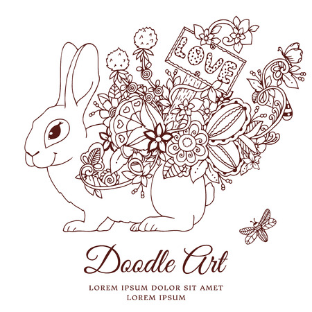 Vector illustration , hare with a pointer Love in the floral frame. Doodle drawing. Coloring book anti stress for adults. Meditative exercises. Brown and white.