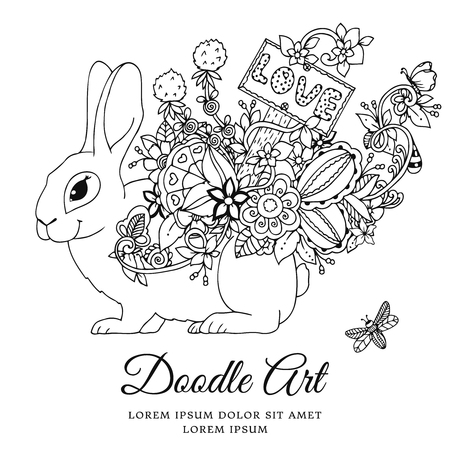 Vector illustration , hare with a pointer Love in the floral frame. Doodle drawing. Coloring book anti stress for adults. Meditative exercises. Black and white.
