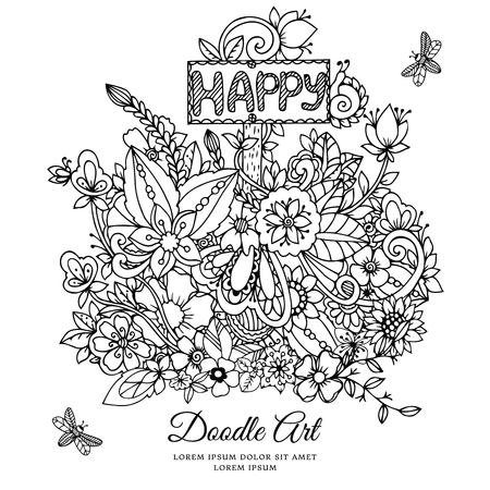 Vector illustration , floral frame. Doodle drawing. Coloring book anti stress for adults. Black white.  イラスト・ベクター素材