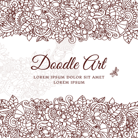 Vector illustration , floral frame. Doodle drawing. Coloring book anti stress for adults. Meditative exercises. Brown and white.