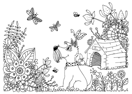 Vector illustration zentangl, dog kennel and in flowers. Doodle floral drawing. A meditative exercises. Coloring book anti stress for adults. Black and white. Иллюстрация