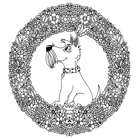 Vector illustration zentangl dog in a circular floral frame. Doodle drawing. A meditative exercises. Coloring book anti stress for adults. Black and white.