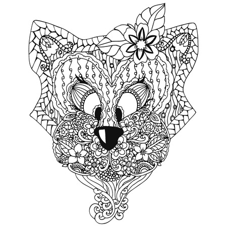 Vector illustration , a cat with an ornament Doodle floral drawing. A meditative exercises. Coloring book anti stress for adults. Black and white.