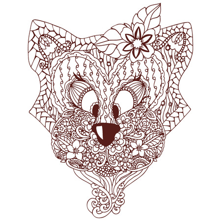 Vector illustration , a cat with an ornament Doodle floral drawing. A meditative exercises. Coloring book anti stress for adults. Brown and white.