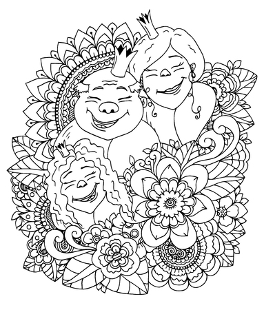 royal family: Vector illustration zentangl , the royal family in a flower frame. Doodle drawing. Meditative exercises. Coloring book anti stress for adults. Black and white. Illustration
